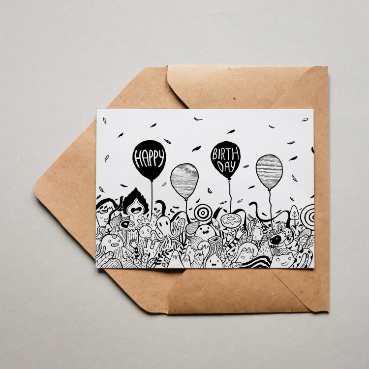 Postkarte - Happy Birthday doodle - quer