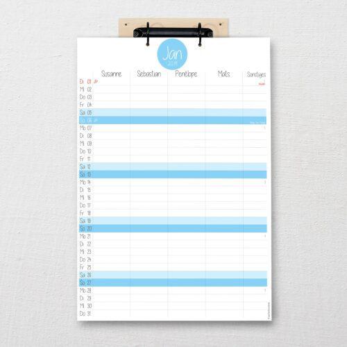 Familienkalender Pure himmelblau DIN-A3