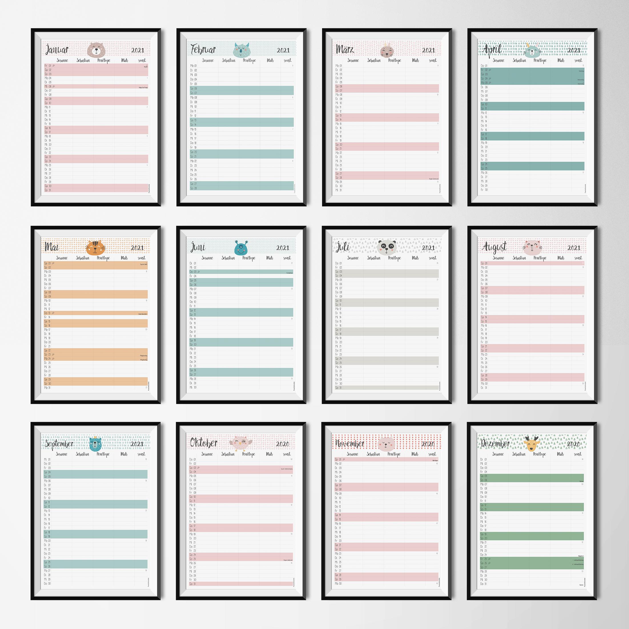 Varianten Familienkalender Animals
